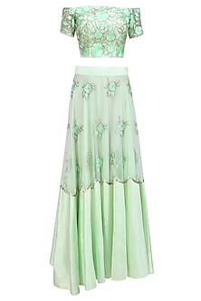 Green Pistachio Flowers Embroidered Off Shoulder Blouse  and Lehenga Set by Ank By Amrit Kaur