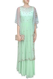 Green Pistachio Birds Embroidered Cape, Blouse  and Palazzo Pants Set by Ank By Amrit Kaur