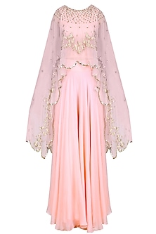 Pink Sequins  and Birds Embroidered Cape, Blouse  and Palazzo Pants Set