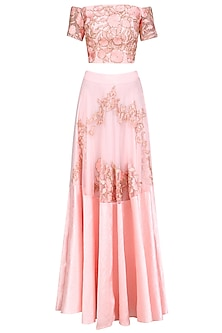 Pink Floral  and Birds Embroidered Off Shoulder Blouse  and Lehenga Set by Ank By Amrit Kaur