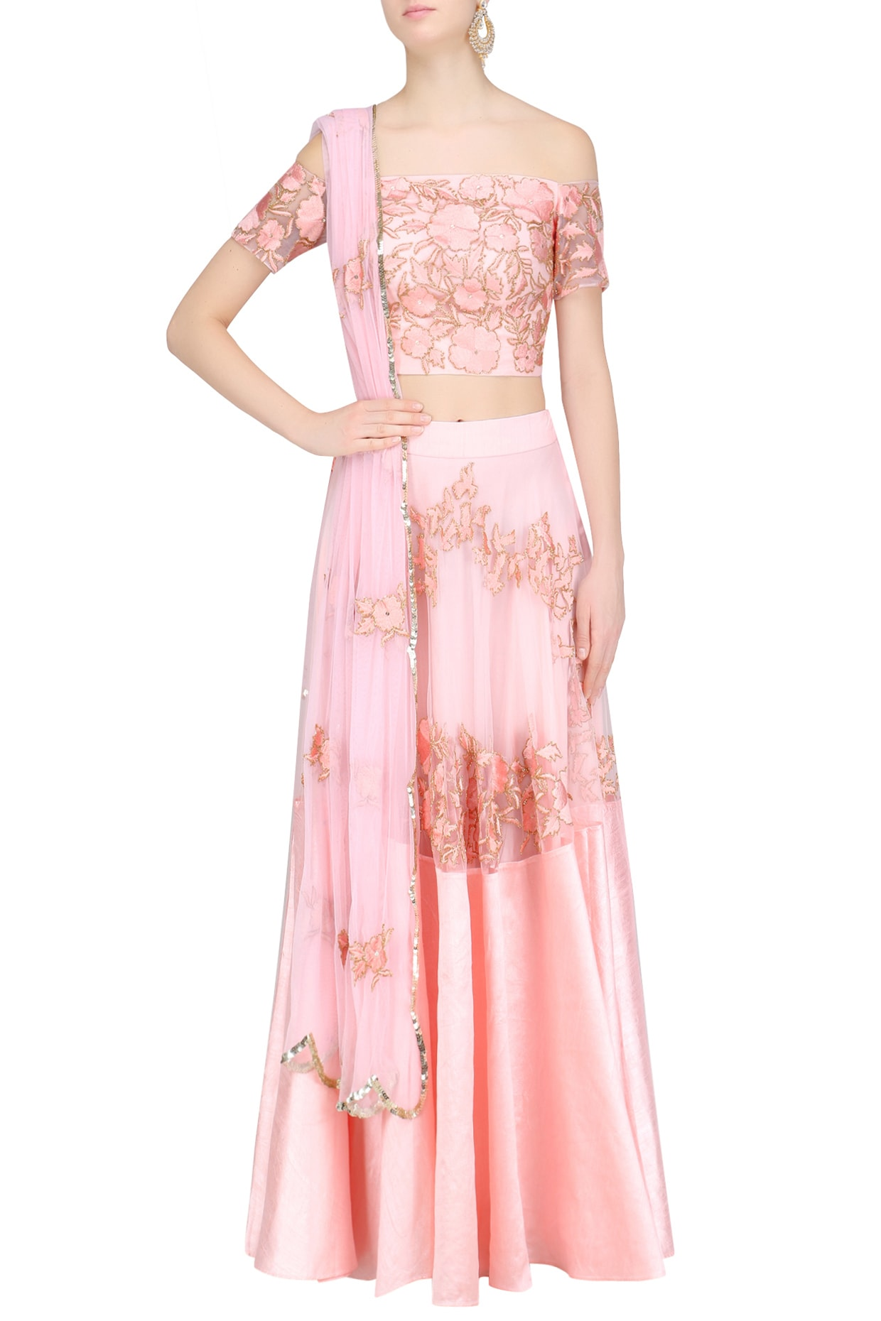 dbf60bc070b4fd Pink floral and birds embroidered off shoulder blouse and lehenga set  available only at Pernia's Pop Up Shop.