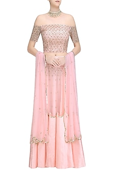 Pink Sequins Embroidered Off Shoulder Blouse  and Lehenga Set by Ank By Amrit Kaur