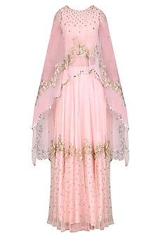 Pink Rose Pearls Flower  and Golden Birds Embroidered Cape, Blouse  and Skirt Set