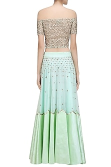 2aff819d9b411b Green Sequins Embroidered Off Shoulder Blouse and Lehenga Set by Ank By Amrit  Kaur