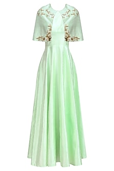 Green Pistachio Gold Birds  and Floral Work Cape  and Gown Set