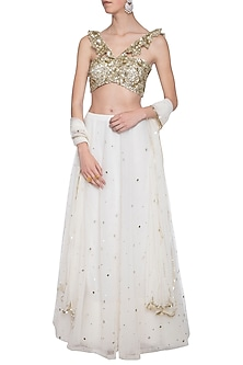 Off white embroidered lehenga set by ANK BY AMRIT KAUR