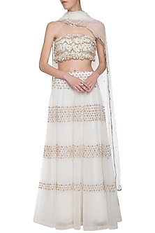 Off white floral embroidered lehenga set by ANK BY AMRIT KAUR