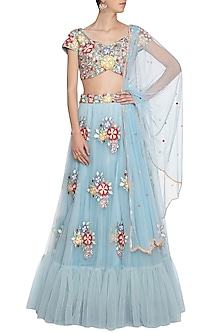 Blue embroidered lehenga set by ANK BY AMRIT KAUR