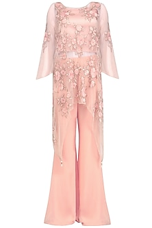 Pink Floral Embroidered Kurta and Palazzo Pants Set by Ank By Amrit Kaur