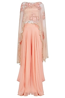 Pink Floral Embroidered Cape and Palazzo Pants Set by Ank By Amrit Kaur