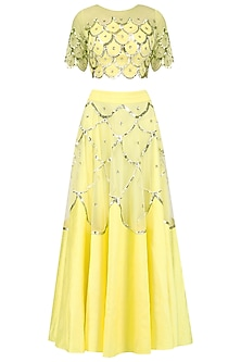 Yellow Scallop Embroidered Blouse and Lehenga Skirt Set