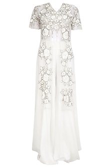 Off White Floral Embroidered Blouse and Palazzo Pants Set
