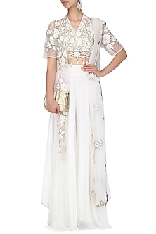 Off White Floral Embroidered Blouse and Palazzo Pants Set by Ank By Amrit Kaur