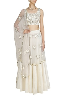 Off White Floral Embroidered Blouse and Lehenga Skirt Set by Ank By Amrit Kaur