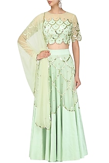 Green Scallop Embroidered Blouse and Lehenga Set by Ank By Amrit Kaur