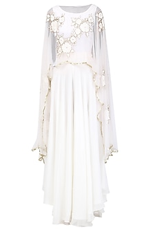 Off White Floral Embroidered Cape and Palazzo Pants Set