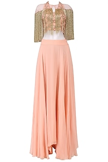Pink Zardozi Embroidered Tasseled Crop Top with Cape and Skirt Set
