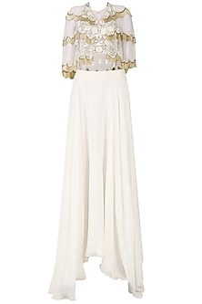 White Zardozi Embroidered Tasseled Crop Top with Cape and Skirt Set