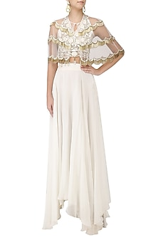 White Zardozi Embroidered Tasseled Crop Top with Cape and Skirt Set by Ank By Amrit Kaur