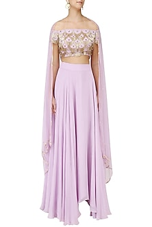 Lavender Off Shoulder Embroidered Lehenga Set by Ank By Amrit Kaur
