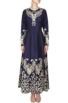 Navy Blue Zardozi  and Gota Embroidered Anarkali Kurta  and Straight Pants by Ank By Amrit Kaur