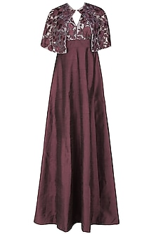 Wine Halter Neck Gown  and Floral Embroidered Sheer Cape Set
