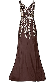 Marsala Red Floral Embroidered Gown