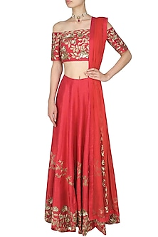 Red  and Gold Floral Embroidered Lehenga  and Off Shoulder Blouse Set by Ank By Amrit Kaur