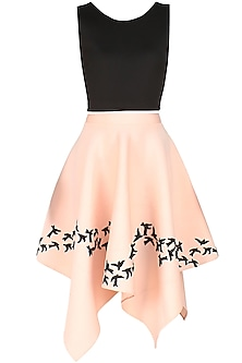 Pink  and Black Embroidered Bird Motifs Flared Skirt  and Top Set