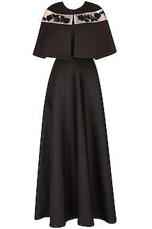 Black Pleated Cutout Gown  and Floral Embroidered Cape Set