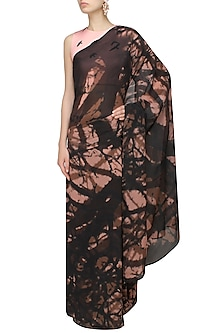 Black  and Peach Tree Shadow Print Saree with Bird Print Blouse by Ank By Amrit Kaur