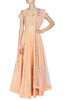 Peach Embroidered Lehenga Set by Ank By Amrit Kaur