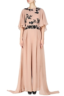 Blush  and Black Ruffle Wing Sleeves Jumpsuit by Ank By Amrit Kaur