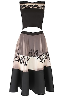Blush  and Black Embroidered Top  and Skirt Set