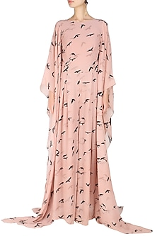 Peach  and Black Birds Print Jumpsuit by Ank By Amrit Kaur