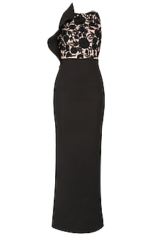 Black  and Dusty Rose Ruffle Dress
