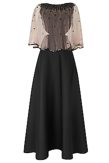 Blush Sheer Embroidered Cape  and Black Dress by Ank By Amrit Kaur