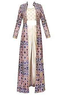 Off White Embroidered Crop Top And Dhoti Pants With Blue Printed Jacket