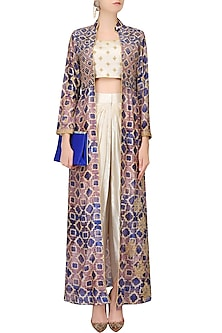 Off White Embroidered Crop Top And Dhoti Pants With Blue Printed Jacket by Anoli Shah