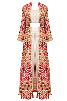 Off White Embroidered Crop Top And Dhoti Pants With Red Printed Jacket