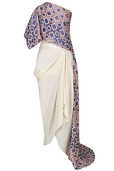Blue Printed One Shoulder Cape And Off White Drapped Skirt Set by Anoli Shah