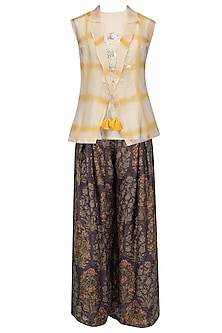 Beige Crop Top, Ajrakh Pallazo Pants and Jacket Set