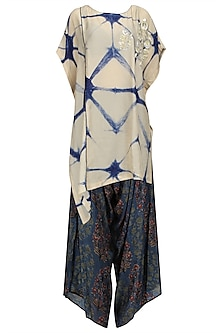 Beige and Blue Shibori Top and Printed Cowl Pants Set