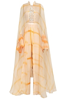Beige and Yellow Shibori Jacket, Crop Top and Palazzo Pants Set