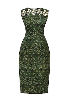 Green Floral Print Pencil Fitted Dress