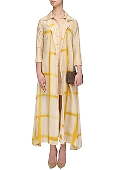 Beige and Yellow Shibori Jacket and Monga Top Set by Anoli Shah