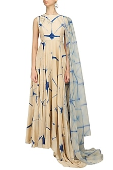Beige and Blue Shibori One Side Dupatta Kalidaar Kurta by Anoli Shah