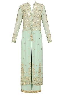 Pista Green Pearl Embroidered Jacket and Churidaar Set