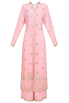 Blush Pink Silver Embroidered Long Jacket and Sharara Pants