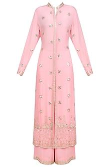 Blush Pink Silver Embroidered Long Jacket and Sharara Pants